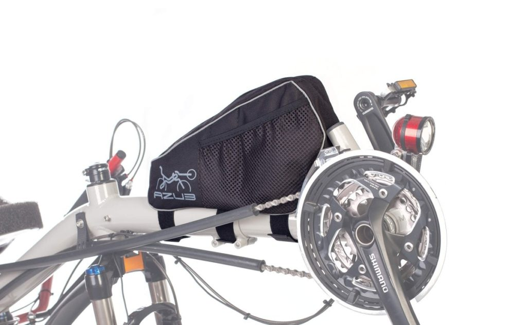 front boom bag on a recumbent