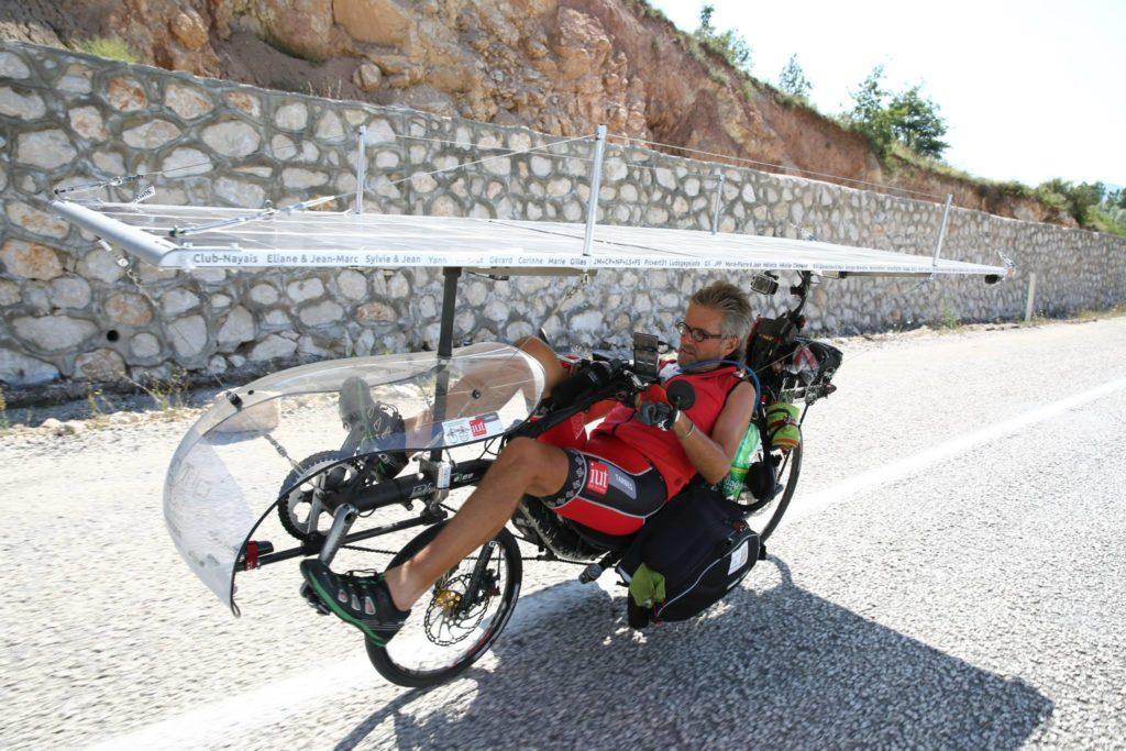 Bernard Cauquil on his recumbent low-racer Optima Baron