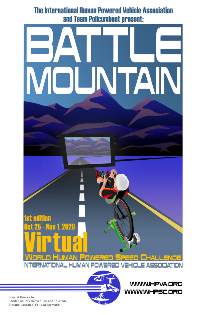 World Human Powered Speed Challenge first virtual event 2020 poster