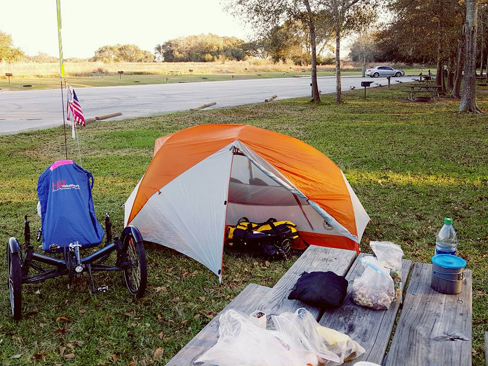Camping while bike touring in the USA