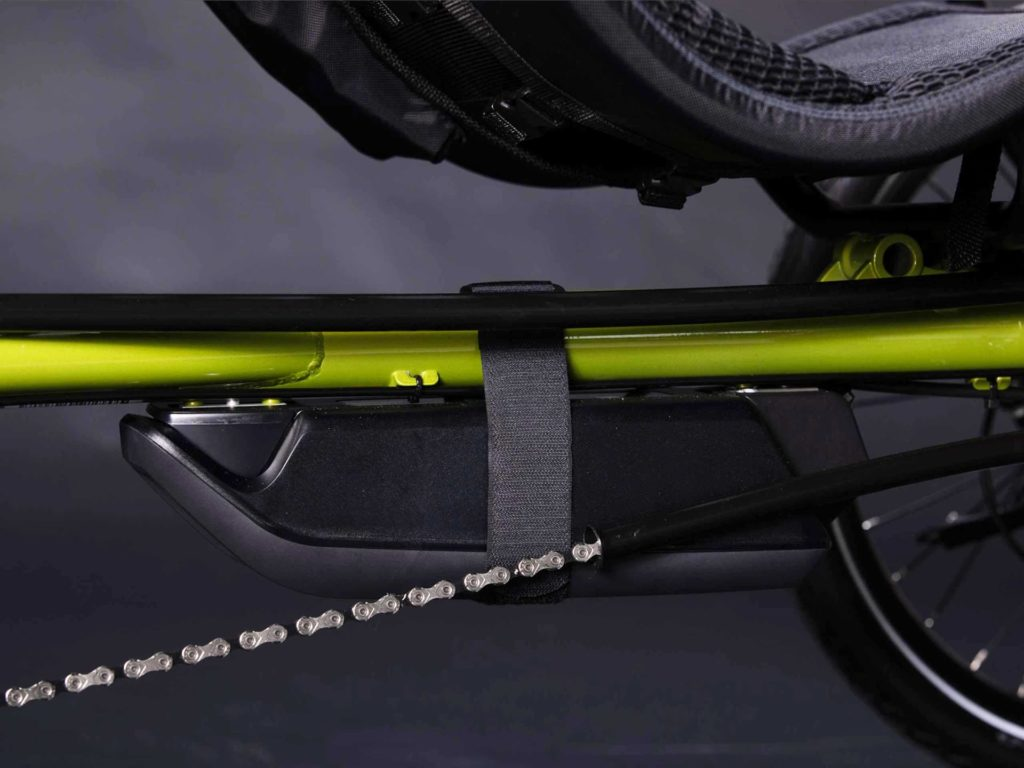 400 Wh battery under the frame of the Terra Trike EVO
