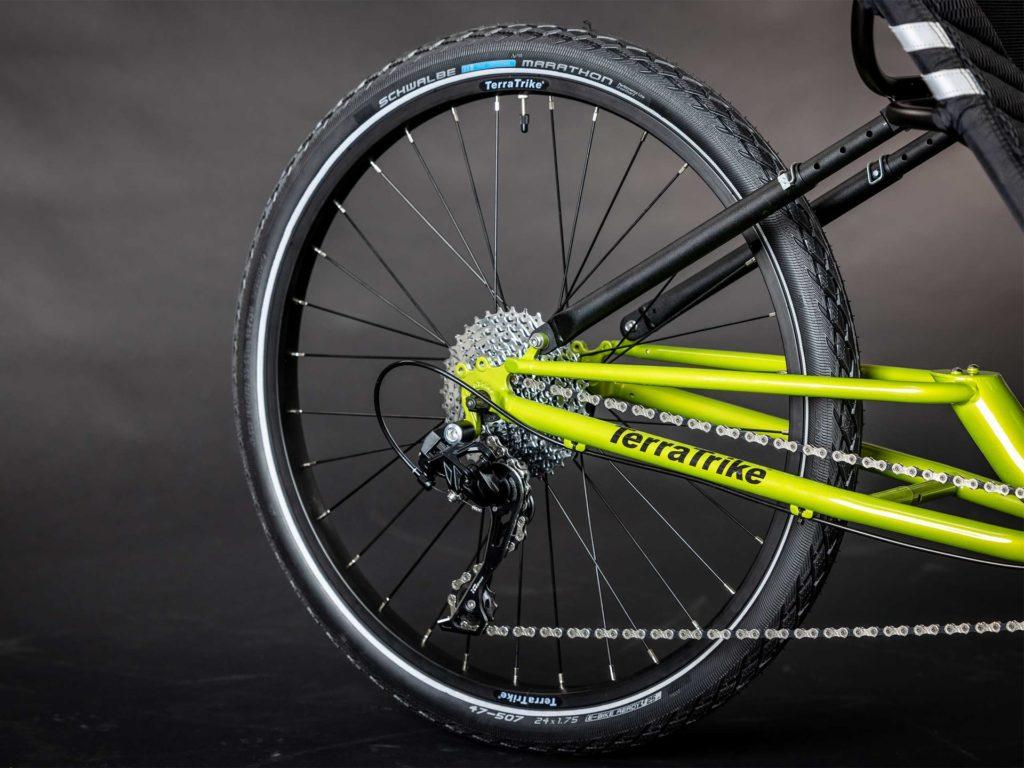 "24"" rear wheel of the Terra Trike E.V.O."