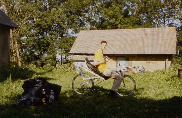 Sjaak and his homebuilt bike, my first recumbent I have ever seen n person
